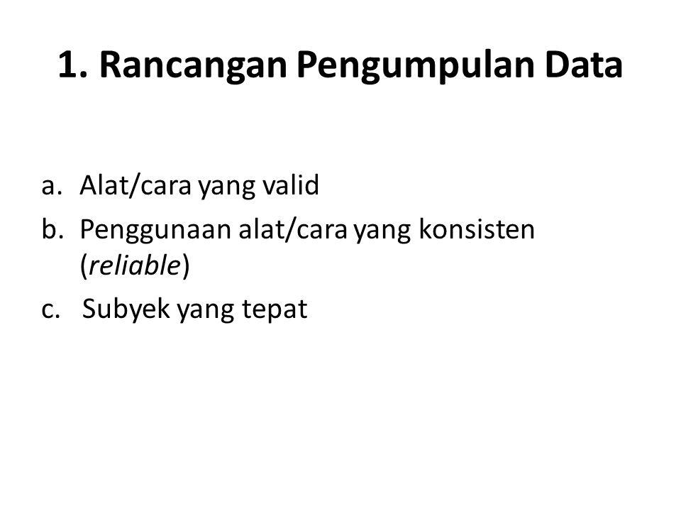 1. Rancangan Pengumpulan Data a.Alat/cara yang valid b.Penggunaan alat/cara yang konsisten (reliable) c. Subyek yang tepat