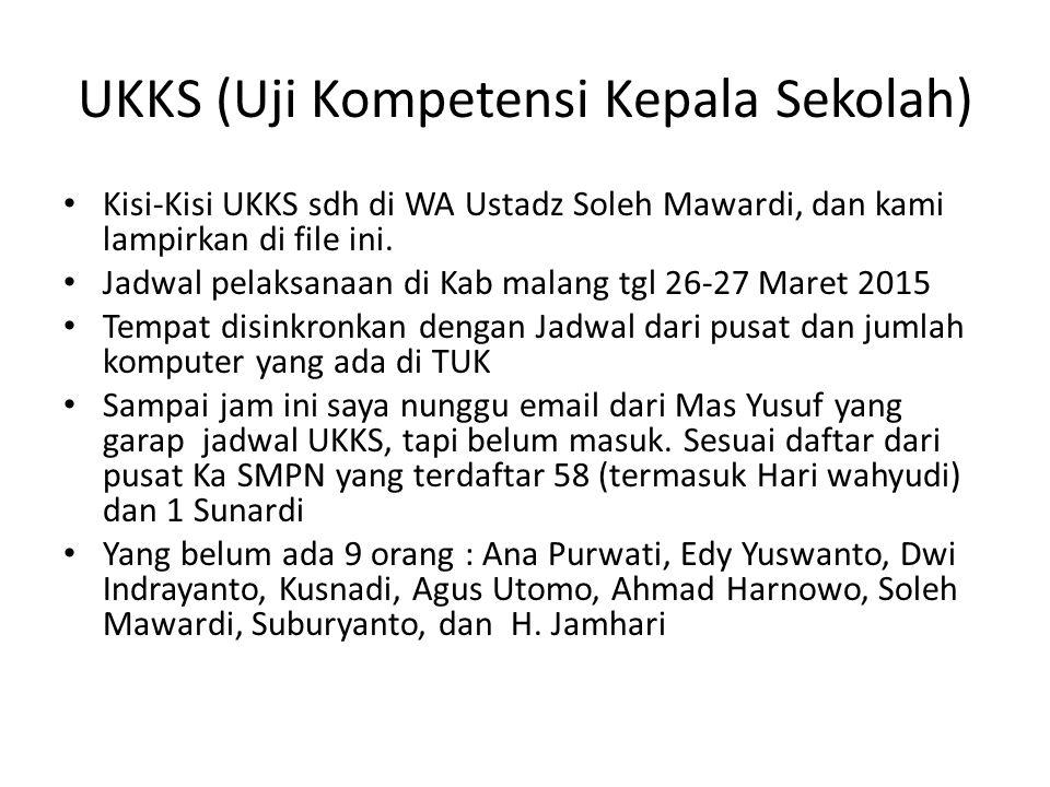 UKKS (Uji Kompetensi Kepala Sekolah) Kisi-Kisi UKKS sdh di WA Ustadz Soleh Mawardi, dan kami lampirkan di file ini. Jadwal pelaksanaan di Kab malang t