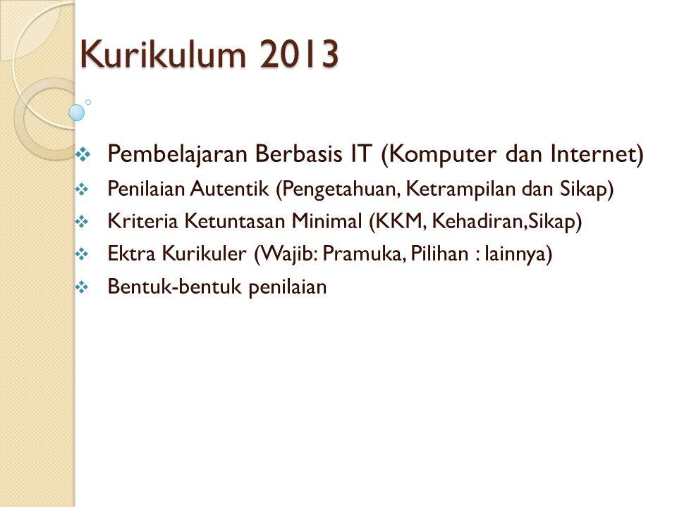 Kurikulum 2013  Pembelajaran Berbasis IT (Komputer dan Internet)  Penilaian Autentik (Pengetahuan, Ketrampilan dan Sikap)  Kriteria Ketuntasan Mini