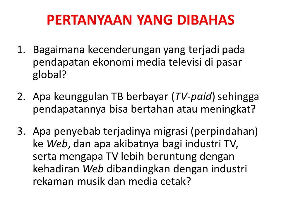 PERTANYAAN YANG DIBAHAS 1.Bagaimana kecenderungan yang terjadi pada pendapatan ekonomi media televisi di pasar global.