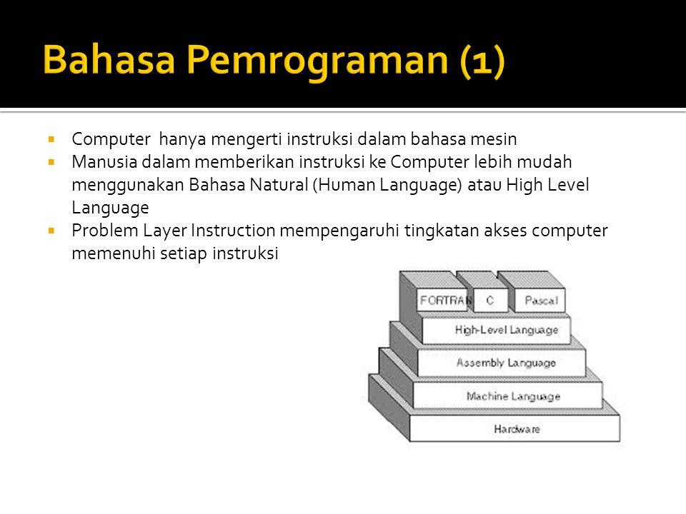  Agar Computer mengerti Instruksi maka dibutuhkan Translator (Compiler/Interpreter)  Compiler akan melakukan proses penerjemahan dari Source Code menjadi Object Code dan Target Code Binary Code Byte Code