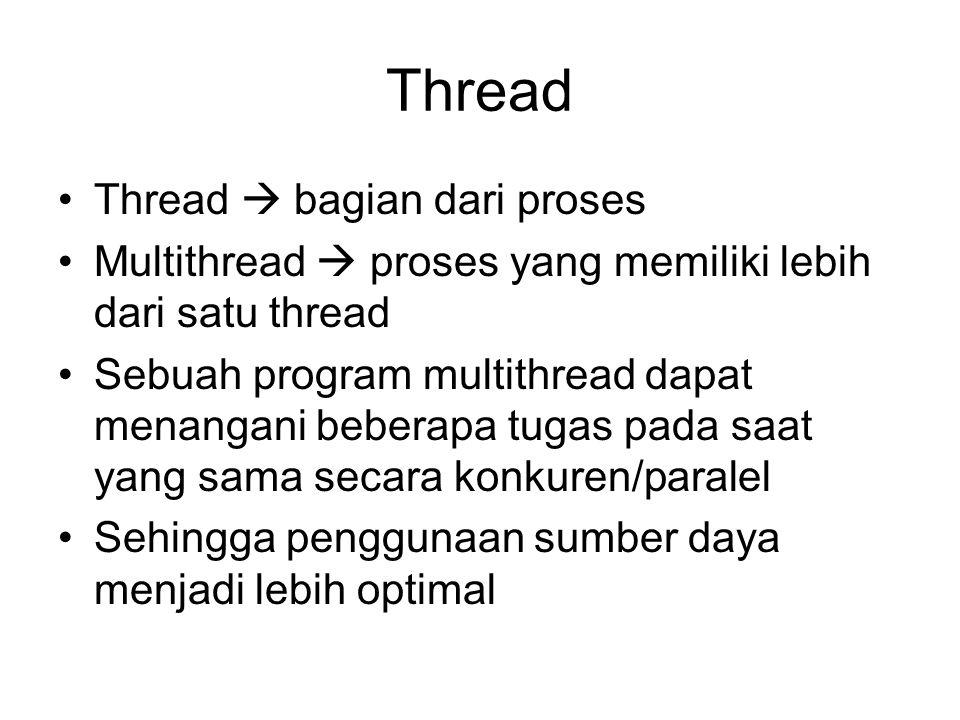 Thread Thread  bagian dari proses Multithread  proses yang memiliki lebih dari satu thread Sebuah program multithread dapat menangani beberapa tugas pada saat yang sama secara konkuren/paralel Sehingga penggunaan sumber daya menjadi lebih optimal