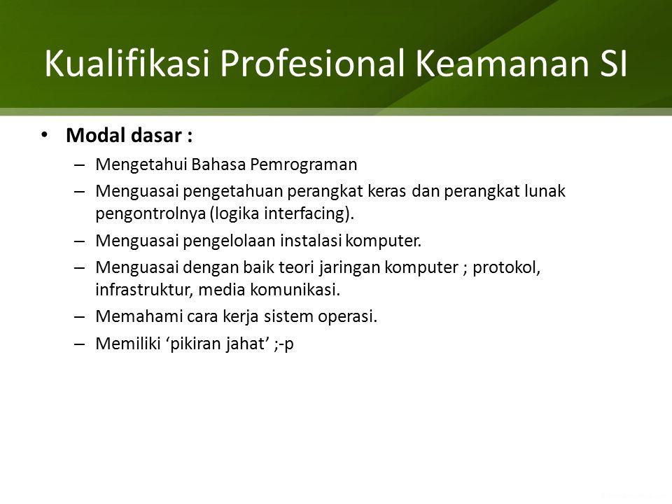 Kualifikasi Profesional Keamanan SI Modal dasar : – Mengetahui Bahasa Pemrograman – Menguasai pengetahuan perangkat keras dan perangkat lunak pengontr