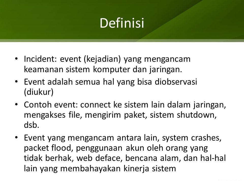 Definisi Incident: event (kejadian) yang mengancam keamanan sistem komputer dan jaringan. Event adalah semua hal yang bisa diobservasi (diukur) Contoh