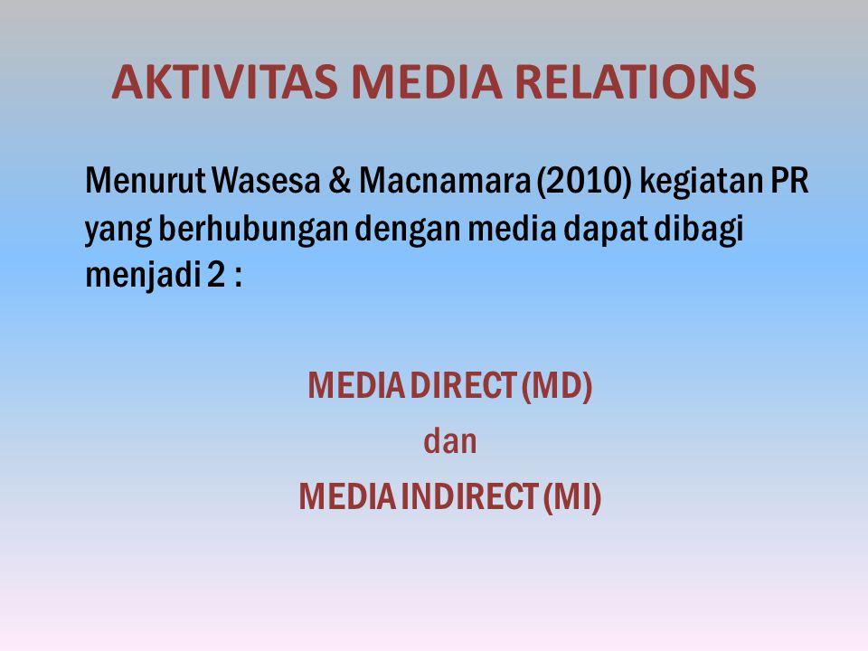 AKTIVITAS MEDIA RELATIONS Menurut Wasesa & Macnamara (2010) kegiatan PR yang berhubungan dengan media dapat dibagi menjadi 2 : MEDIA DIRECT (MD) dan MEDIA INDIRECT (MI)