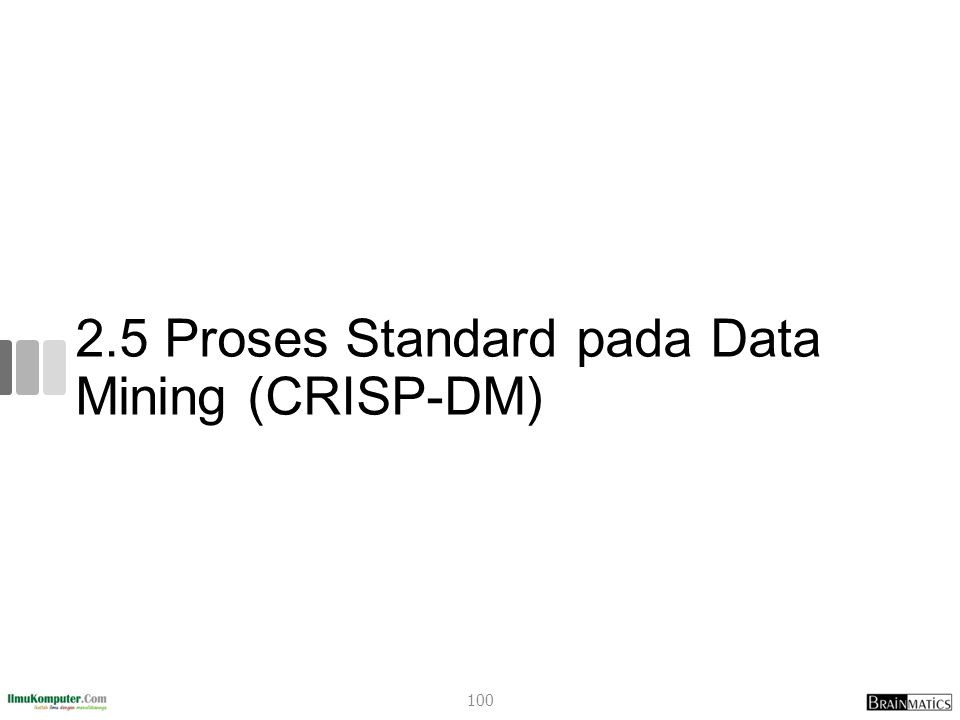 Data Mining Standard Process A cross-industry standard was clearly required that is industry neutral, tool- neutral, and application-neutral The Cross-Industry Standard Process for Data Mining (CRISP–DM) was developed in 1996 (Chapman, 2000) CRISP-DM provides a nonproprietary and freely available standard process for fitting data mining into the general problem-solving strategy of a business or research unit 101
