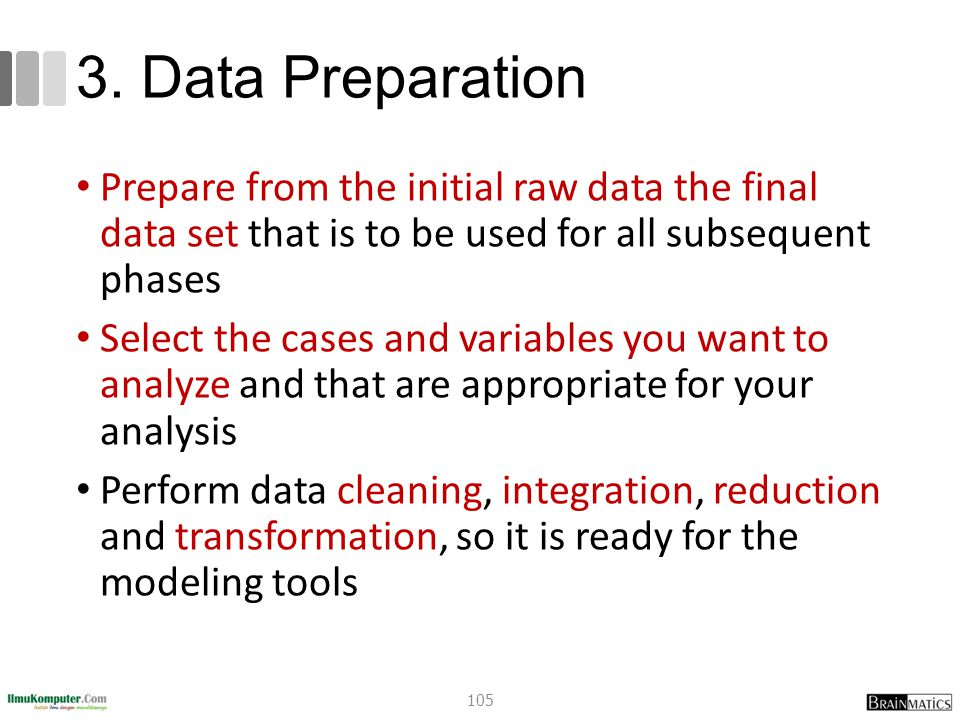 3. Data Preparation Prepare from the initial raw data the final data set that is to be used for all subsequent phases Select the cases and variables y