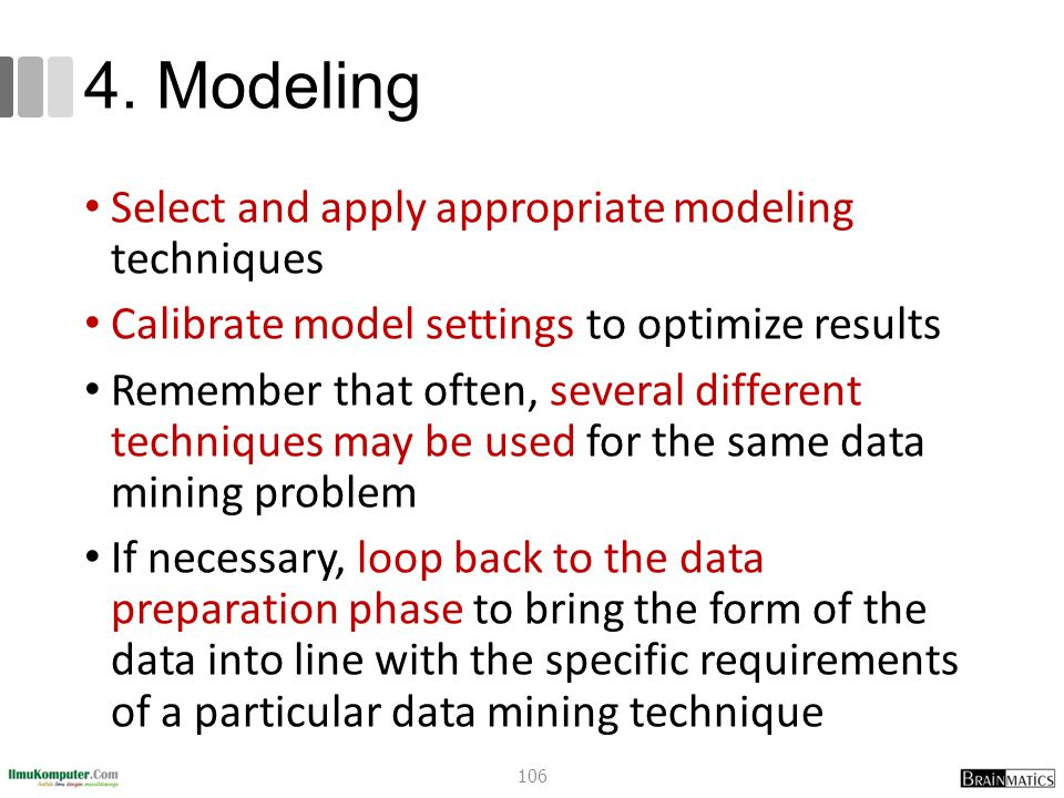 4. Modeling Select and apply appropriate modeling techniques Calibrate model settings to optimize results Remember that often, several different techn