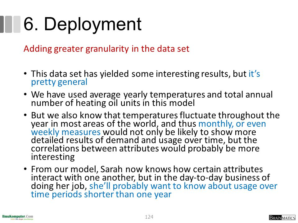 6. Deployment Adding greater granularity in the data set This data set has yielded some interesting results, but it's pretty general We have used aver