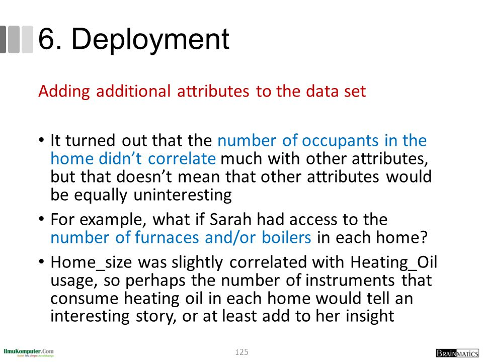 6. Deployment Adding additional attributes to the data set It turned out that the number of occupants in the home didn't correlate much with other att