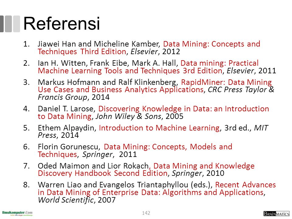 Referensi 1.Jiawei Han and Micheline Kamber, Data Mining: Concepts and Techniques Third Edition, Elsevier, 2012 2.Ian H.