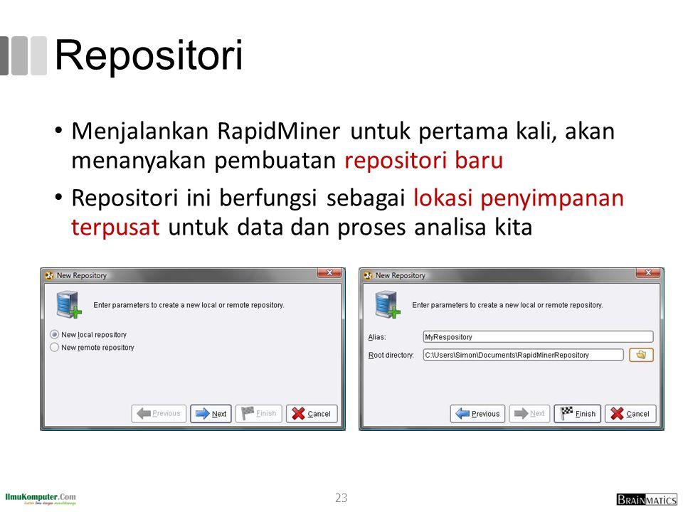 Repositori Menjalankan RapidMiner untuk pertama kali, akan menanyakan pembuatan repositori baru Repositori ini berfungsi sebagai lokasi penyimpanan te