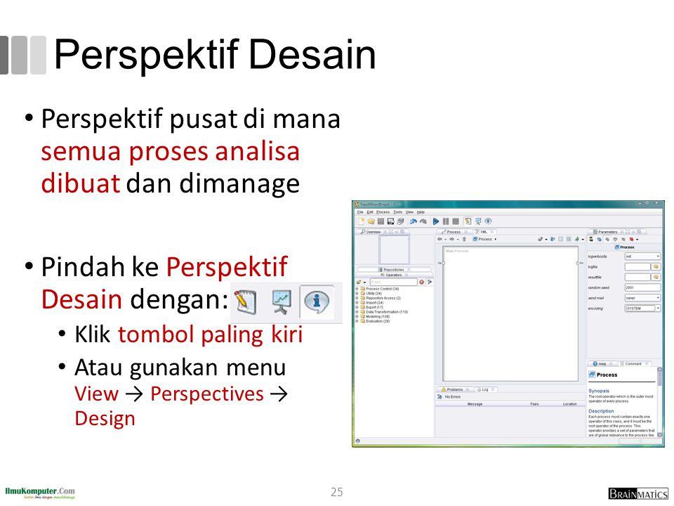 Perspektif Desain 25 Perspektif pusat di mana semua proses analisa dibuat dan dimanage Pindah ke Perspektif Desain dengan: Klik tombol paling kiri Ata
