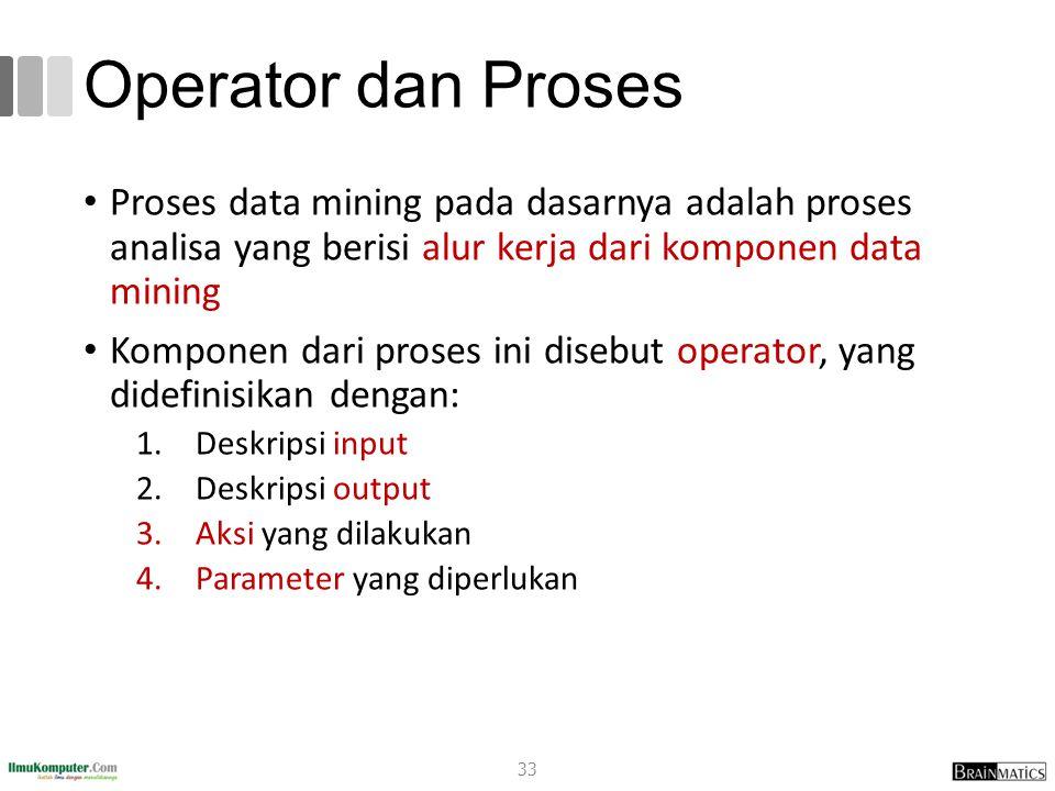 Operator dan Proses Proses data mining pada dasarnya adalah proses analisa yang berisi alur kerja dari komponen data mining Komponen dari proses ini d