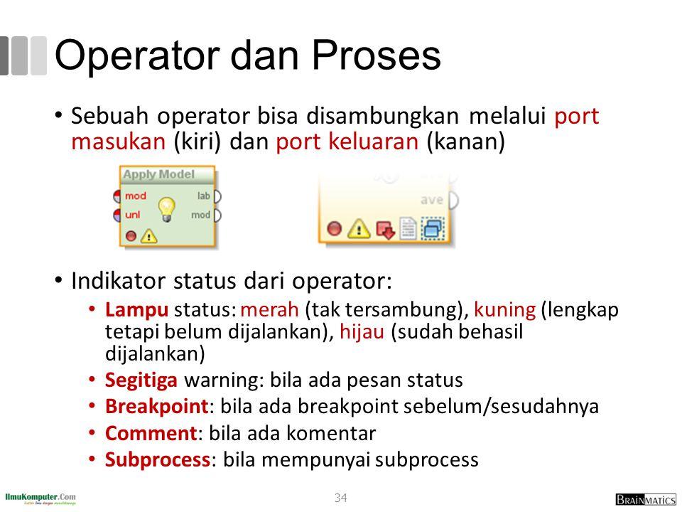 Operator dan Proses Sebuah operator bisa disambungkan melalui port masukan (kiri) dan port keluaran (kanan) Indikator status dari operator: Lampu stat