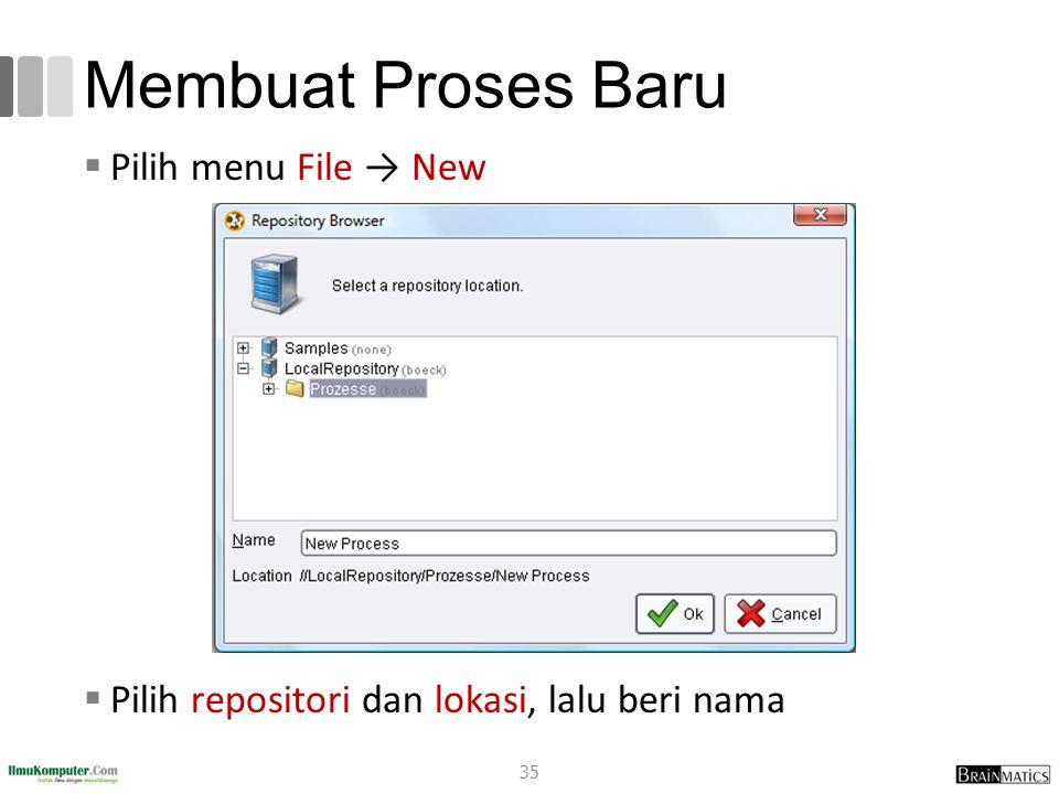 Membuat Proses Baru  Pilih menu File → New  Pilih repositori dan lokasi, lalu beri nama 35