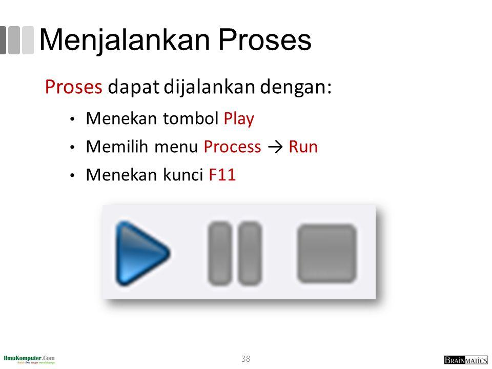 Menjalankan Proses Proses dapat dijalankan dengan: Menekan tombol Play Memilih menu Process → Run Menekan kunci F11 38