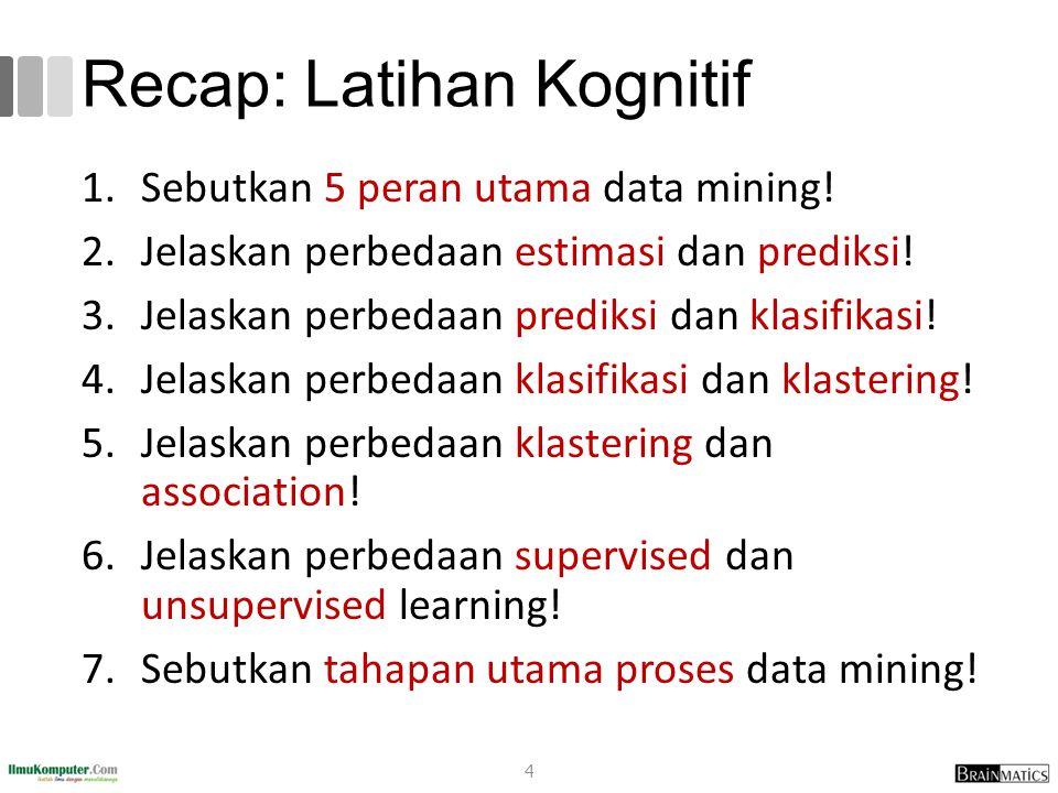 Recap: Latihan Kognitif 1.Sebutkan 5 peran utama data mining! 2.Jelaskan perbedaan estimasi dan prediksi! 3.Jelaskan perbedaan prediksi dan klasifikas