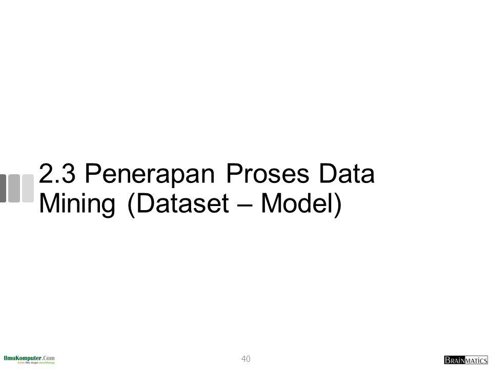2.3 Penerapan Proses Data Mining (Dataset – Model) 40
