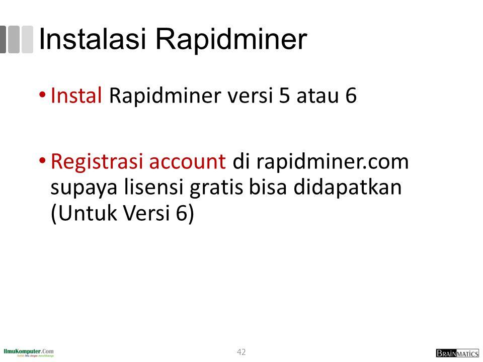 Instalasi Rapidminer Instal Rapidminer versi 5 atau 6 Registrasi account di rapidminer.com supaya lisensi gratis bisa didapatkan (Untuk Versi 6) 42