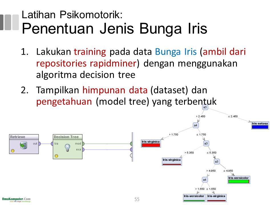 Latihan Psikomotorik: Penentuan Jenis Bunga Iris 55 1.Lakukan training pada data Bunga Iris (ambil dari repositories rapidminer) dengan menggunakan al