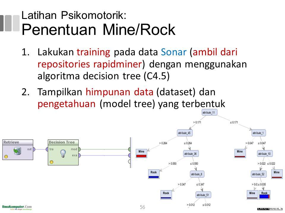 Latihan Psikomotorik: Penentuan Mine/Rock 56 1.Lakukan training pada data Sonar (ambil dari repositories rapidminer) dengan menggunakan algoritma deci