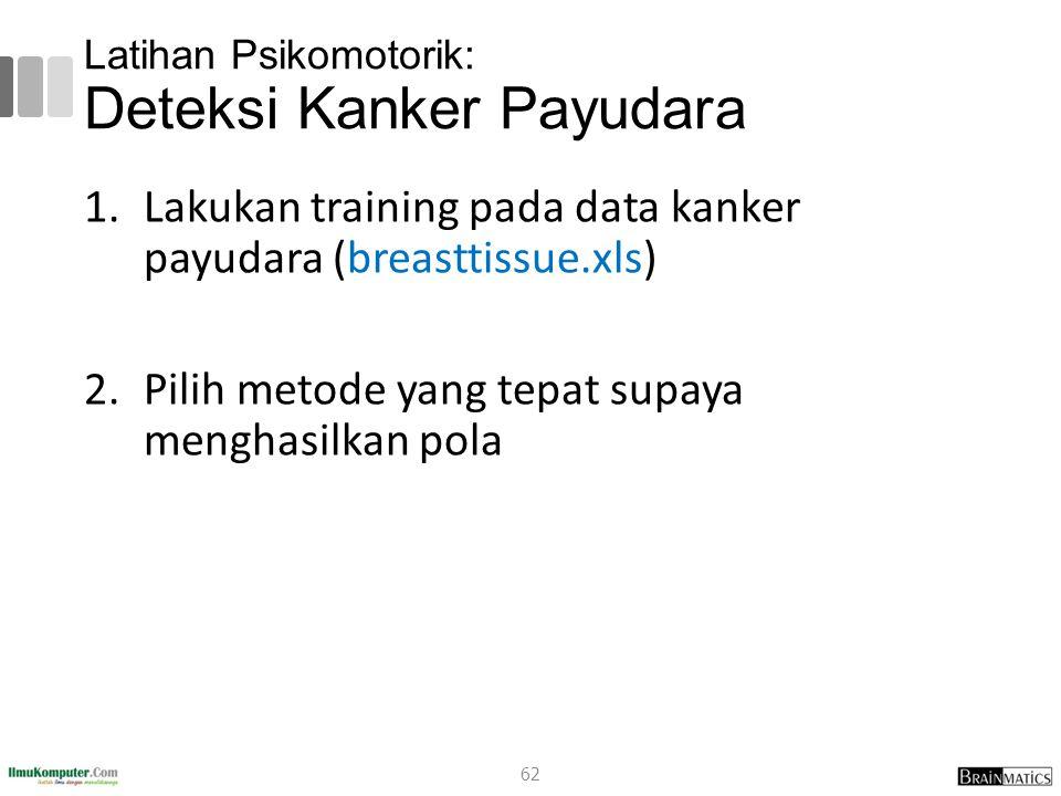 Latihan Psikomotorik: Deteksi Kanker Payudara 1.Lakukan training pada data kanker payudara (breasttissue.xls) 2.Pilih metode yang tepat supaya menghas