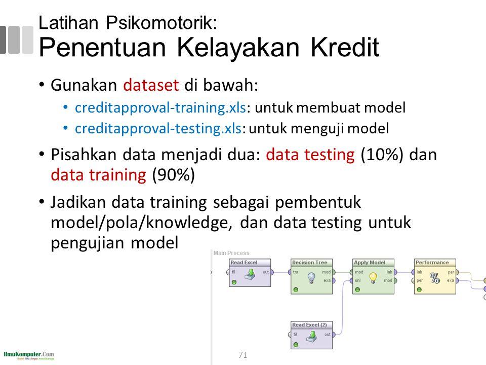 Latihan Psikomotorik: Penentuan Kelayakan Kredit Gunakan dataset di bawah: creditapproval-training.xls: untuk membuat model creditapproval-testing.xls