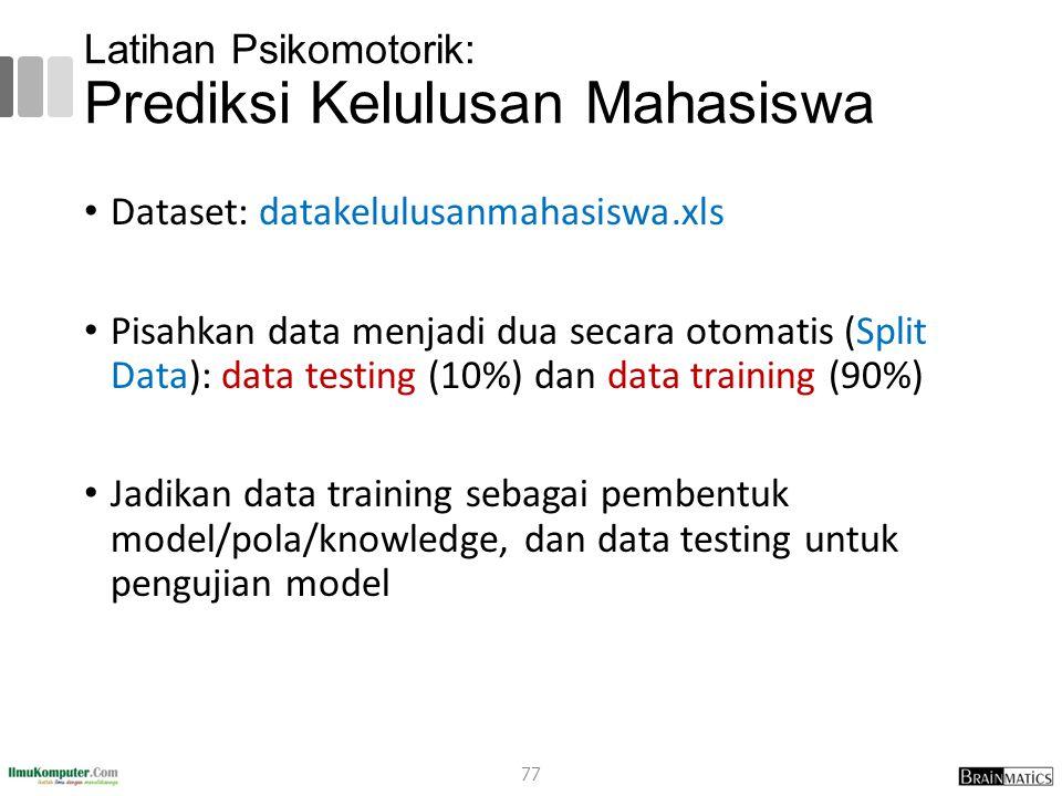 Latihan Psikomotorik: Prediksi Kelulusan Mahasiswa Dataset: datakelulusanmahasiswa.xls Pisahkan data menjadi dua secara otomatis (Split Data): data te
