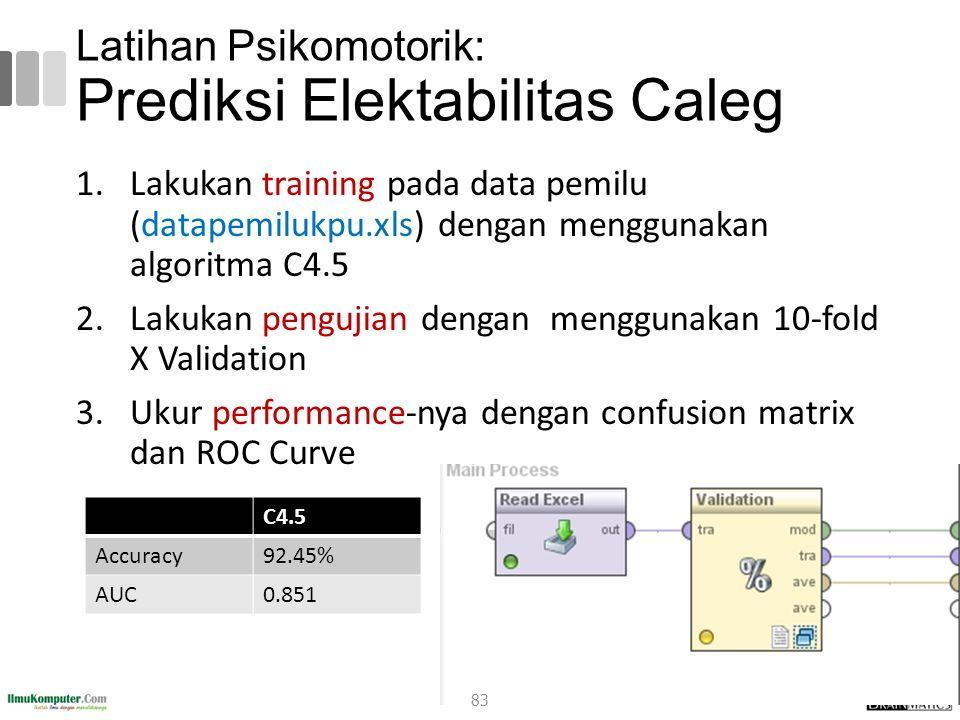 Latihan Psikomotorik: Prediksi Elektabilitas Caleg 1.Lakukan training pada data pemilu (datapemilukpu.xls) dengan menggunakan algoritma C4.5 2.Lakukan