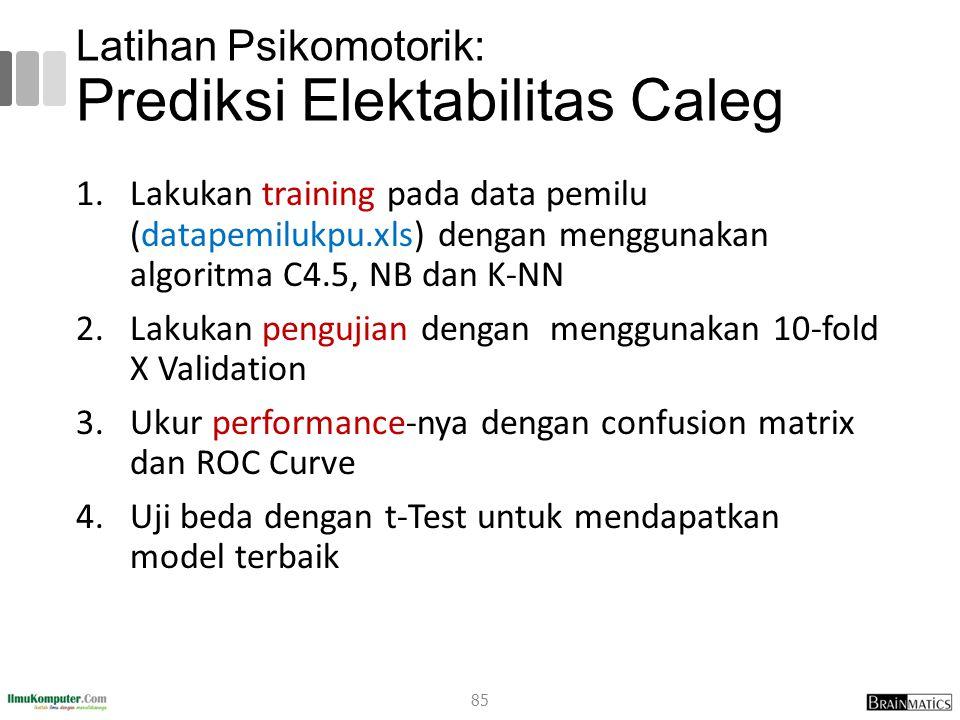 Latihan Psikomotorik: Prediksi Elektabilitas Caleg 1.Lakukan training pada data pemilu (datapemilukpu.xls) dengan menggunakan algoritma C4.5, NB dan K