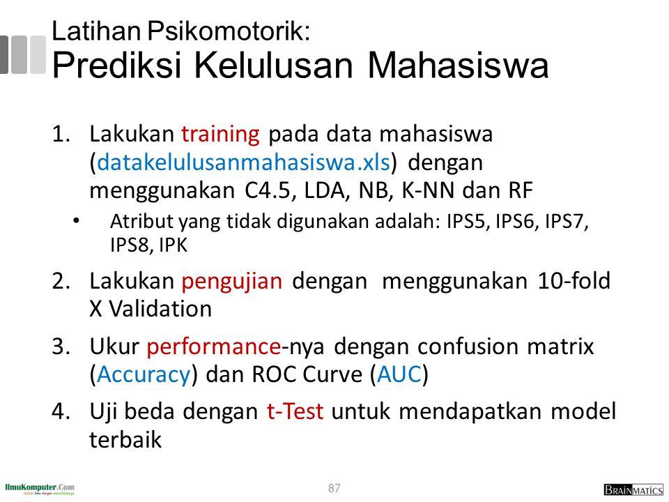 Latihan Psikomotorik: Prediksi Kelulusan Mahasiswa 1.Lakukan training pada data mahasiswa (datakelulusanmahasiswa.xls) dengan menggunakan C4.5, LDA, N