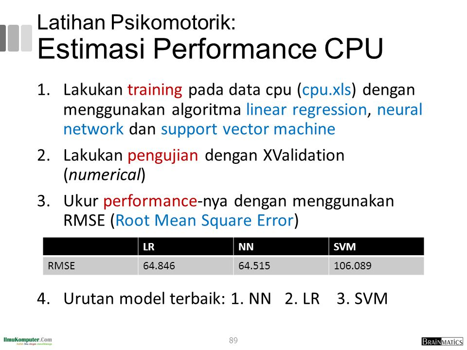 Latihan Psikomotorik: Estimasi Performance CPU 1.Lakukan training pada data cpu (cpu.xls) dengan menggunakan algoritma linear regression, neural network dan support vector machine 2.Lakukan pengujian dengan XValidation (numerical) 3.Ukur performance-nya dengan menggunakan RMSE (Root Mean Square Error) 4.Urutan model terbaik: 1.
