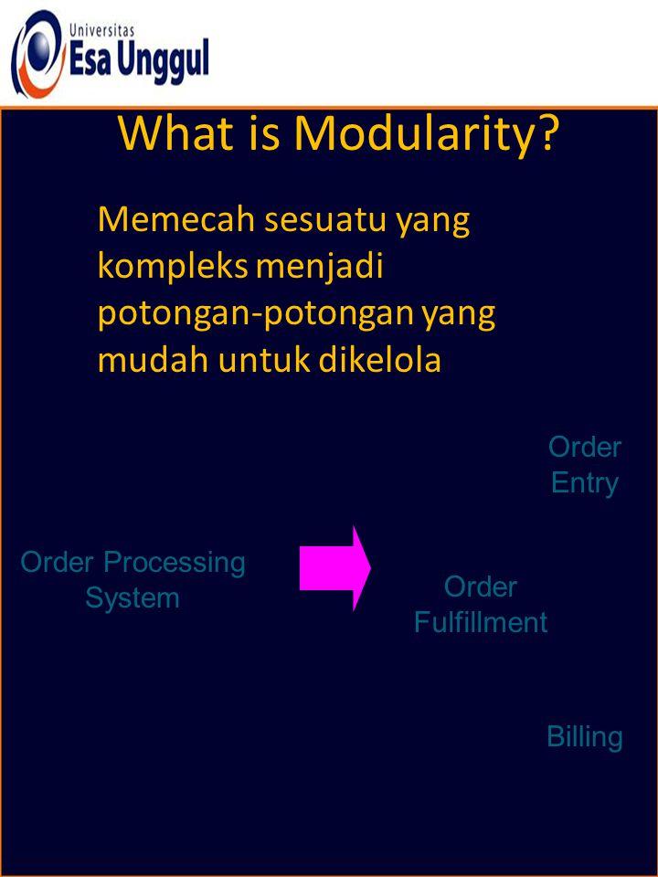What is Modularity? Memecah sesuatu yang kompleks menjadi potongan-potongan yang mudah untuk dikelola Order Processing System Billing Order Entry Orde