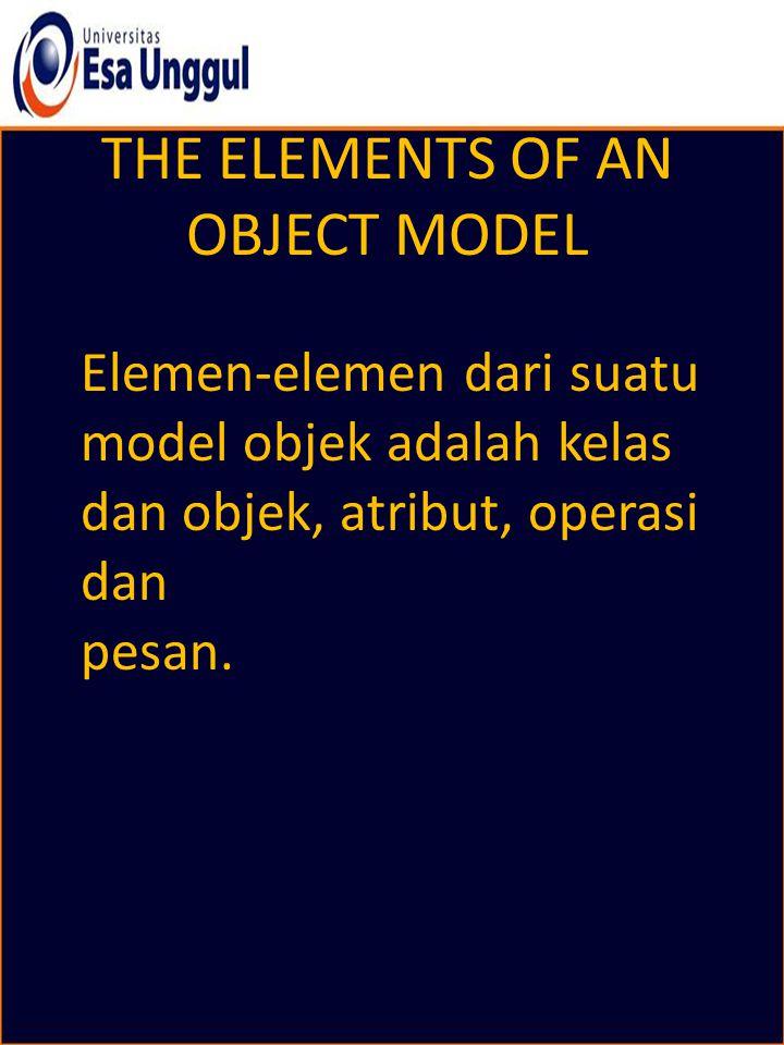 THE ELEMENTS OF AN OBJECT MODEL Elemen-elemen dari suatu model objek adalah kelas dan objek, atribut, operasi dan pesan.