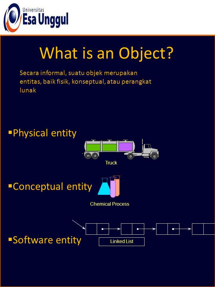 What is an Object? Secara informal, suatu objek merupakan entitas, baik fisik, konseptual, atau perangkat lunak  Physical entity  Conceptual entity