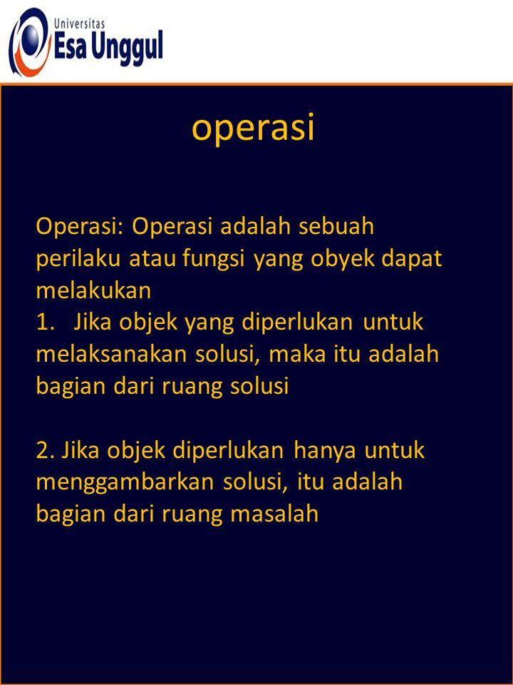 operasi Operasi: Operasi adalah sebuah perilaku atau fungsi yang obyek dapat melakukan 1. Jika objek yang diperlukan untuk melaksanakan solusi, maka i