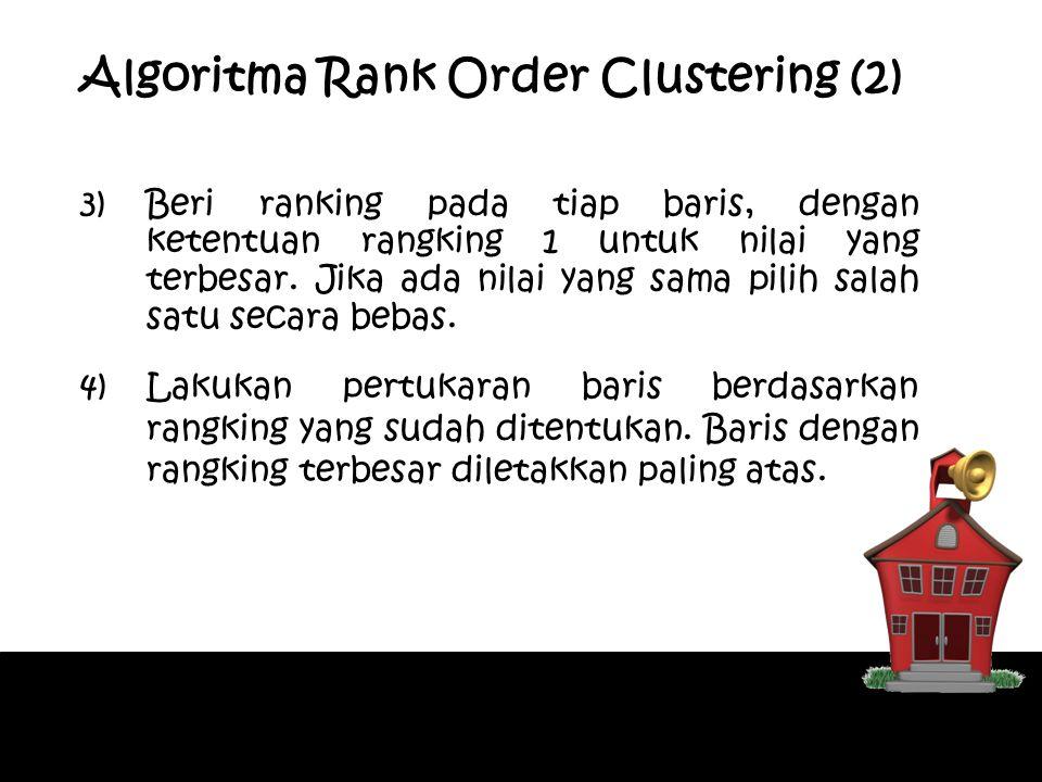 3)Beri ranking pada tiap baris, dengan ketentuan rangking 1 untuk nilai yang terbesar. Jika ada nilai yang sama pilih salah satu secara bebas. 4)Lakuk