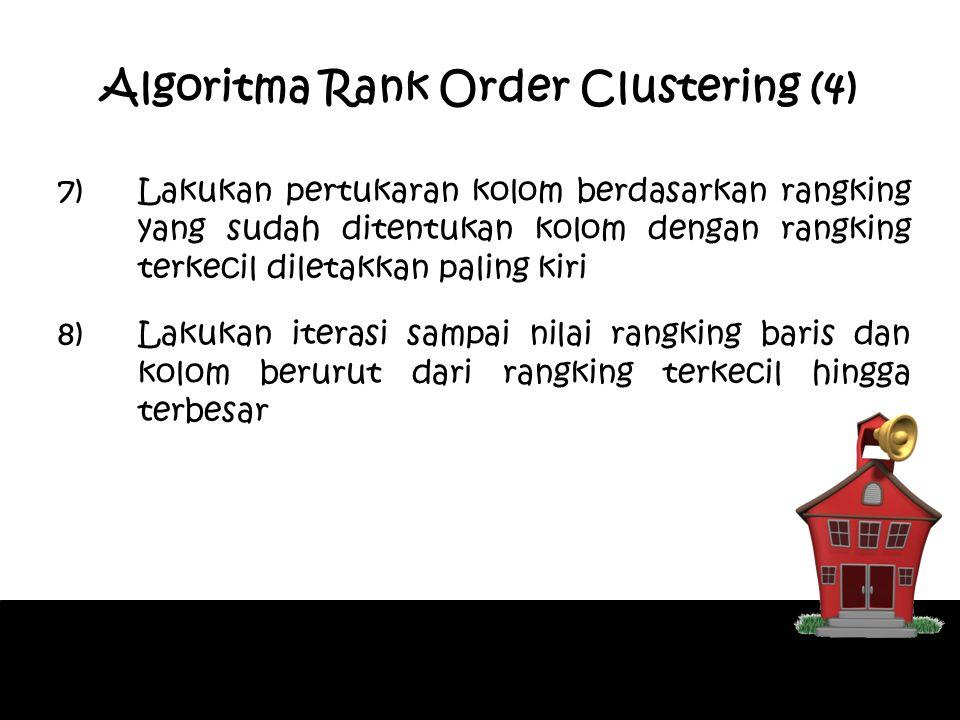 Algoritma Rank Order Clustering (4) 7)Lakukan pertukaran kolom berdasarkan rangking yang sudah ditentukan kolom dengan rangking terkecil diletakkan pa