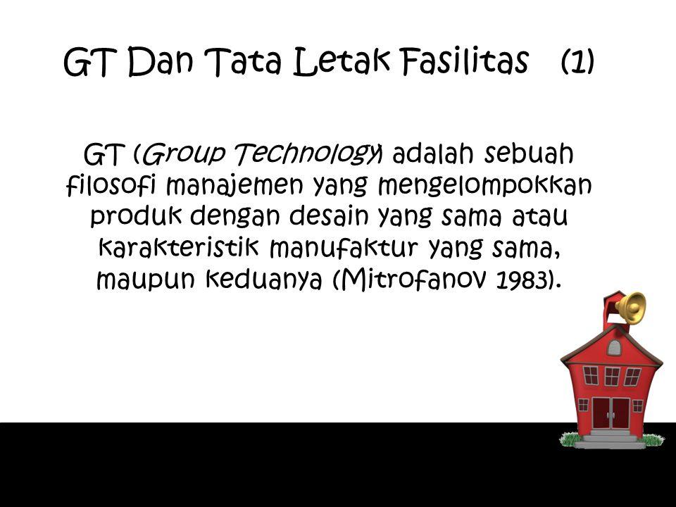 GT (Group Technology) adalah sebuah filosofi manajemen yang mengelompokkan produk dengan desain yang sama atau karakteristik manufaktur yang sama, mau