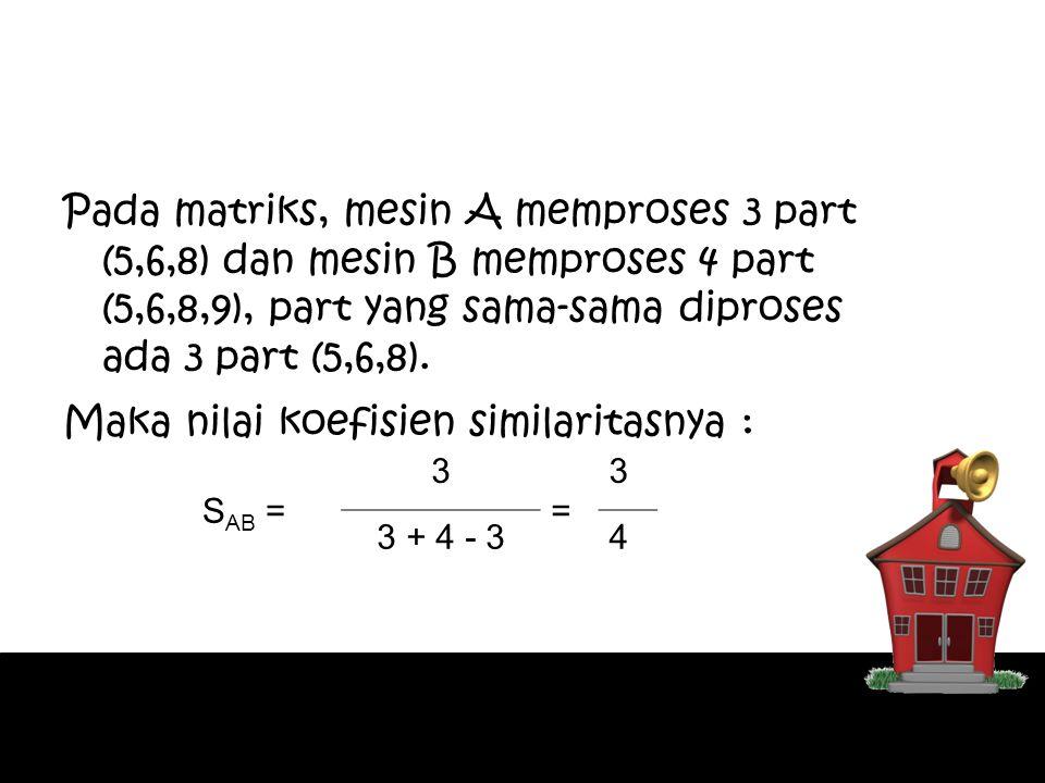 Pada matriks, mesin A memproses 3 part (5,6,8) dan mesin B memproses 4 part (5,6,8,9), part yang sama-sama diproses ada 3 part (5,6,8). Maka nilai koe