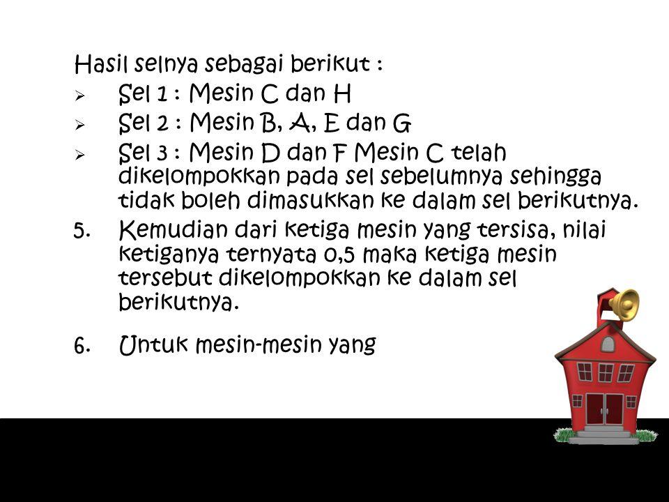 Hasil selnya sebagai berikut :  Sel 1 : Mesin C dan H  Sel 2 : Mesin B, A, E dan G  Sel 3 : Mesin D dan F Mesin C telah dikelompokkan pada sel sebe