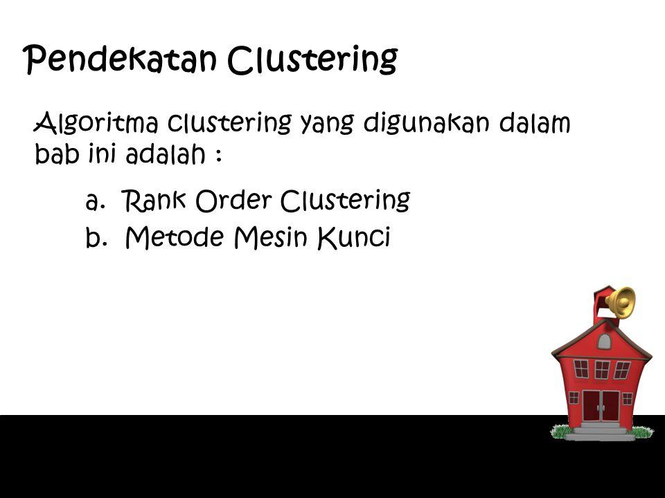 Algoritma Rank Order Clustering (1) 1)Buat tabel matriks yang memuat hubungan antara part-part yang akan dibuat dan mesin-mesin yang tersedia.