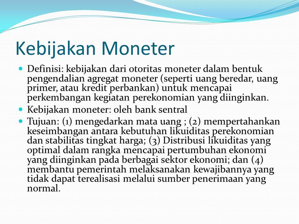 Kebijakan Moneter Definisi: kebijakan dari otoritas moneter dalam bentuk pengendalian agregat moneter (seperti uang beredar, uang primer, atau kredit