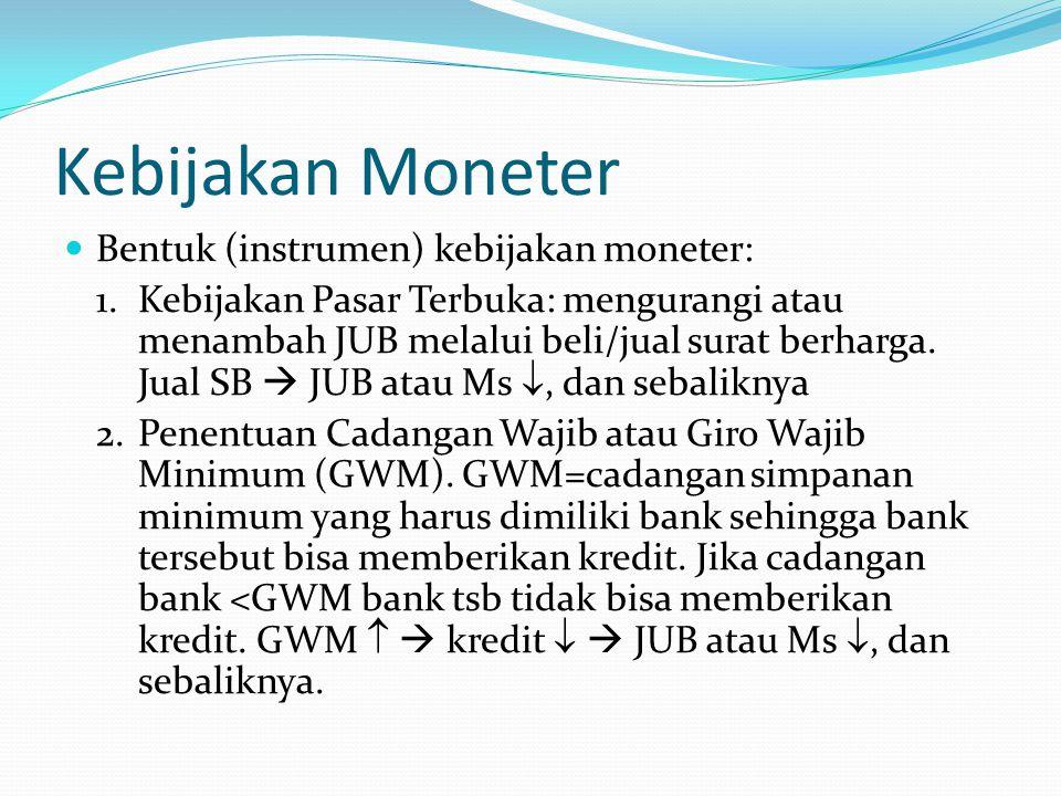 Kebijakan Moneter Bentuk (instrumen) kebijakan moneter: 1.Kebijakan Pasar Terbuka: mengurangi atau menambah JUB melalui beli/jual surat berharga. Jual