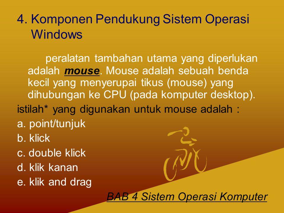 4. Komponen Pendukung Sistem Operasi Windows peralatan tambahan utama yang diperlukan adalah mouse. Mouse adalah sebuah benda kecil yang menyerupai ti