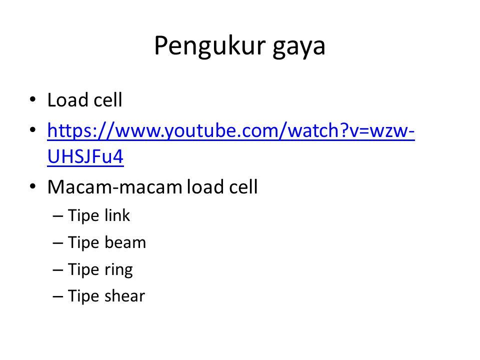 Pengukur gaya Load cell https://www.youtube.com/watch?v=wzw- UHSJFu4 https://www.youtube.com/watch?v=wzw- UHSJFu4 Macam-macam load cell – Tipe link – Tipe beam – Tipe ring – Tipe shear