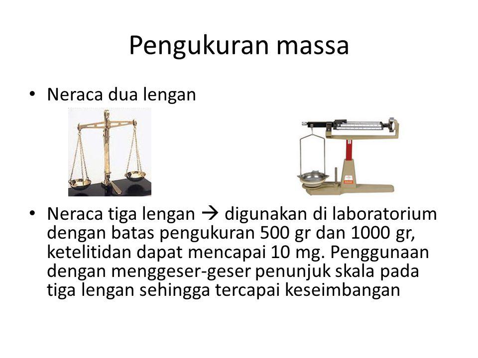 Pengukuran massa Neraca dua lengan Neraca tiga lengan  digunakan di laboratorium dengan batas pengukuran 500 gr dan 1000 gr, ketelitidan dapat mencap