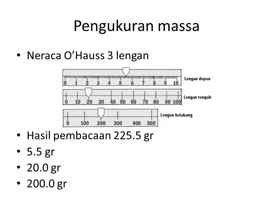 Pengukuran massa Neraca O'Hauss 3 lengan Hasil pembacaan 225.5 gr 5.5 gr 20.0 gr 200.0 gr