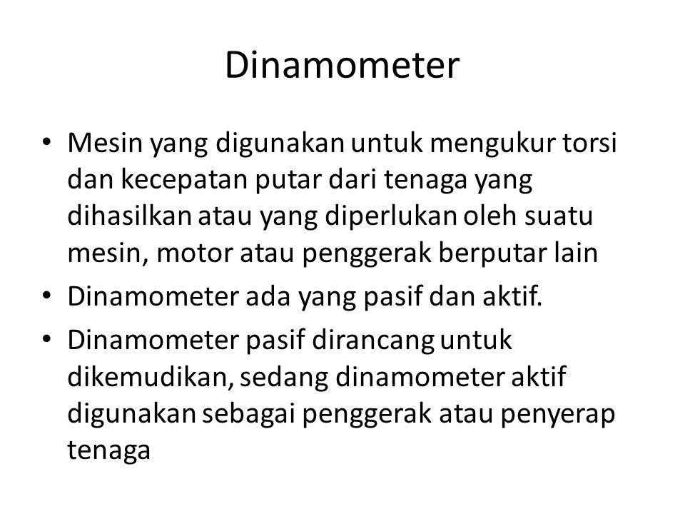 Dinamometer Mesin yang digunakan untuk mengukur torsi dan kecepatan putar dari tenaga yang dihasilkan atau yang diperlukan oleh suatu mesin, motor ata
